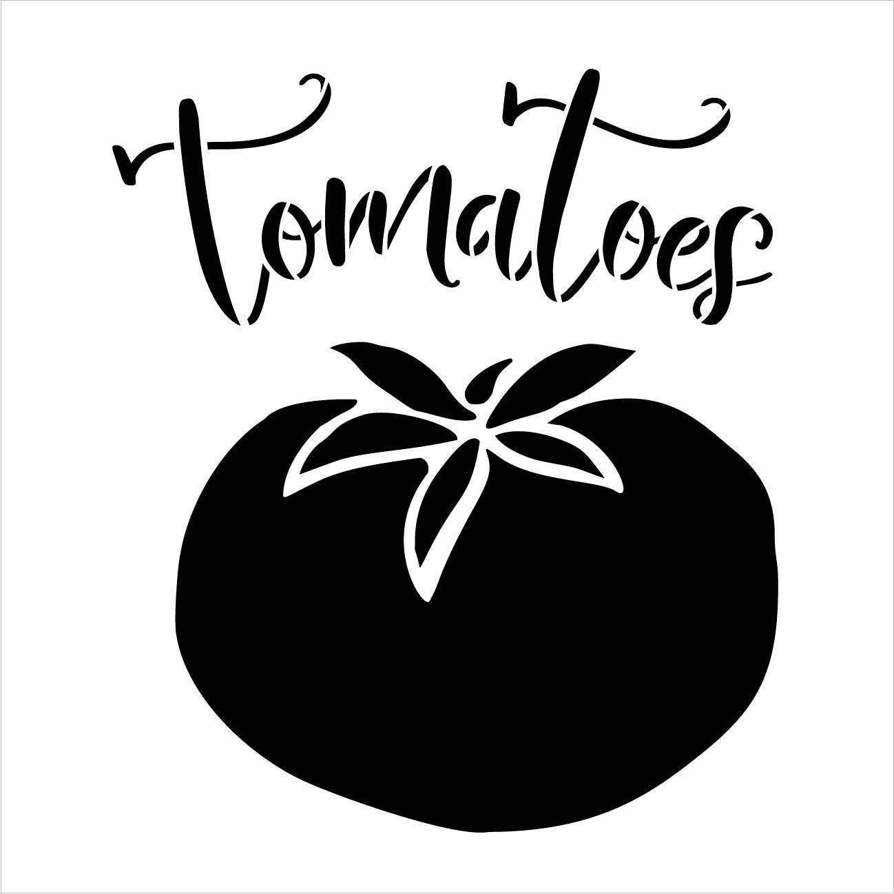 Tomatoes Garden Marker Stencil by StudioR12 | DIY Spring Backyard Outdoor Home Decor | Vegetable Plant Label | Craft & Paint Rustic Wood Signs | Reusable Mylar Template | Select Size