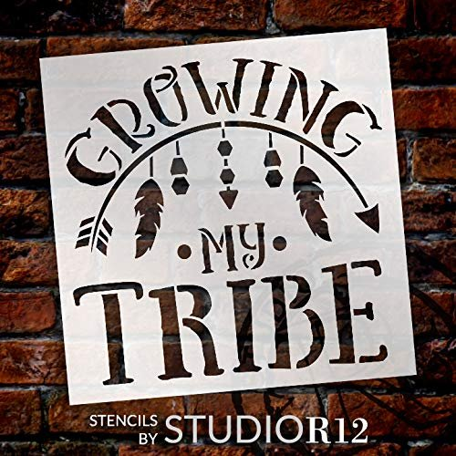 Growing My Tribe Stencil with Arrow & Feathers by StudioR12 | DIY Tribal Family Home Decor | Boho Embellished Word Art | Craft & Paint Wood Signs | Reusable Mylar Template | Select Size