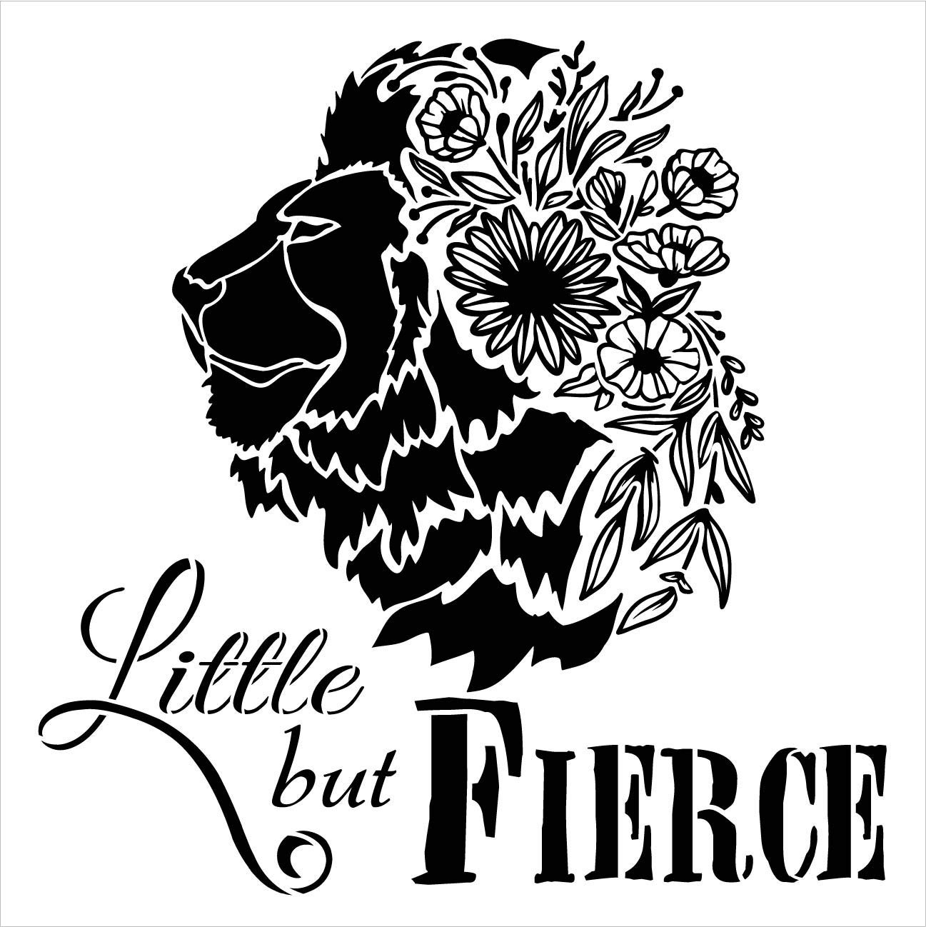 Little But Fierce 2-Part Stencil with Lion by StudioR12 | DIY Inspirational Home or Nursery Decor | Boho Floral Quote Word Art | Craft & Paint Wood Signs | Mylar Template | Select Size
