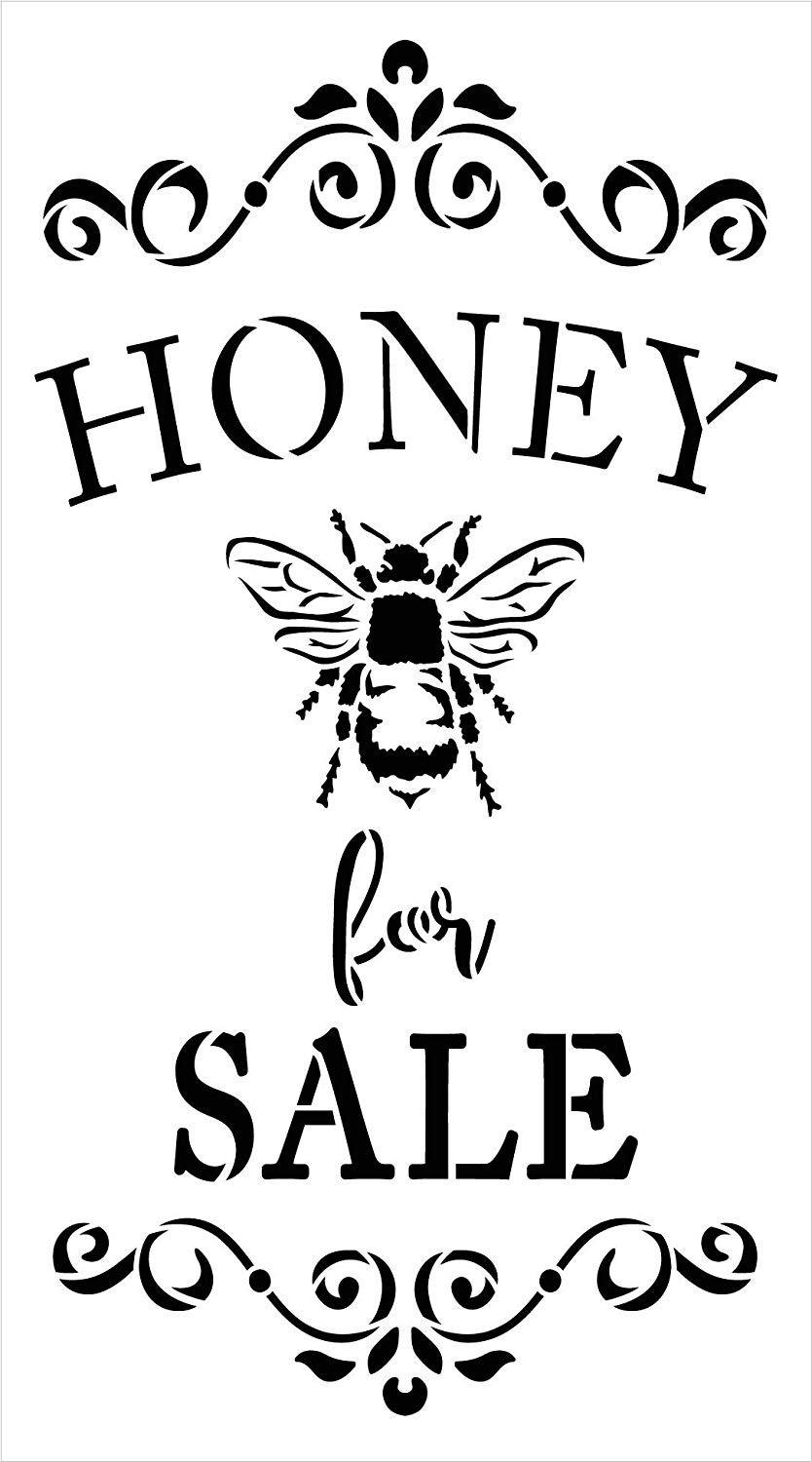 Honey for Sale Stencil with Bee by StudioR12 | DIY Spring Farmhouse Kitchen Home Decor | Rustic Embellished Word Art | Craft & Paint Wood Signs | Reusable Mylar Template | Select Size