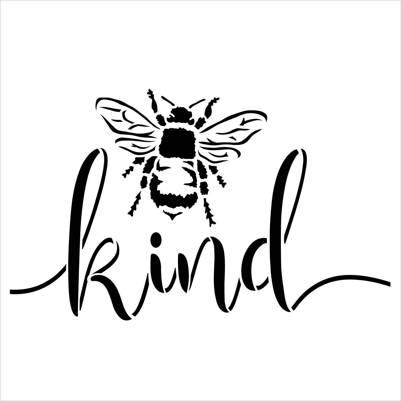 Bee Kind Stencil by StudioR12 | DIY Farmhouse Bumblebee Home & Classroom Decor | Spring Script Inspirational Word Art | Craft & Paint Wood Signs | Reusable Mylar Template | Select Size