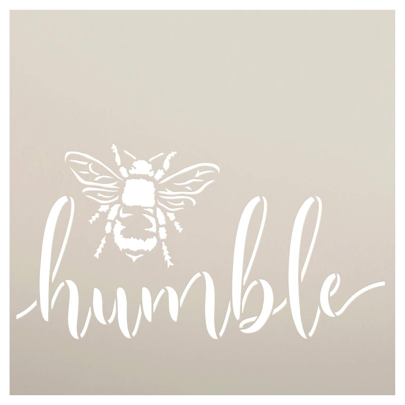 Bee Humble Stencil by StudioR12 | DIY Farmhouse Bumblebee Home & Classroom Decor | Spring Script Inspirational Word Art | Craft & Paint Wood Sign | Reusable Mylar Template | Select Size