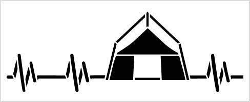 Camping Heartbeat Stencil by StudioR12 | Reusable Mylar Template | Paint Wood Sign | Craft Rustic Tent Nature Lover Gift - Family - Friend | DIY Outdoor Home Decor | Select Size