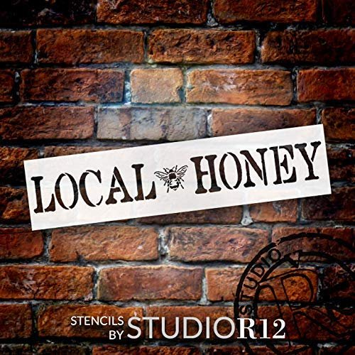 Local Honey Stencil with Bee by StudioR12 | DIY Farmhouse Honeybee Home & Kitchen Decor | Rustic Spring Word Art | Craft & Paint Wood Signs | Reusable Mylar Template | Select Size