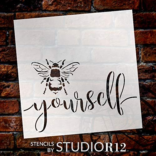 Bee Yourself Stencil by StudioR12 | DIY Farmhouse Bumblebee Home & Classroom Decor | Spring Script Inspirational Word Art | Paint Wood Signs | Reusable Mylar Template | Select Size