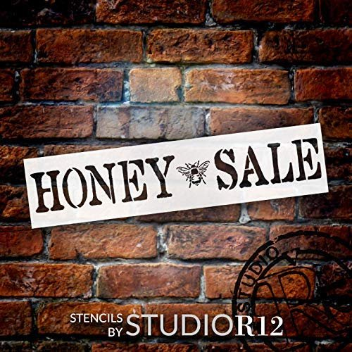 Honey Sale Stencil with Bee by StudioR12   DIY Spring Farmhouse Rustic Kitchen Home Decor   Vintage Country Word Art   Craft & Paint Wood Signs   Reusable Mylar Template   Select Size
