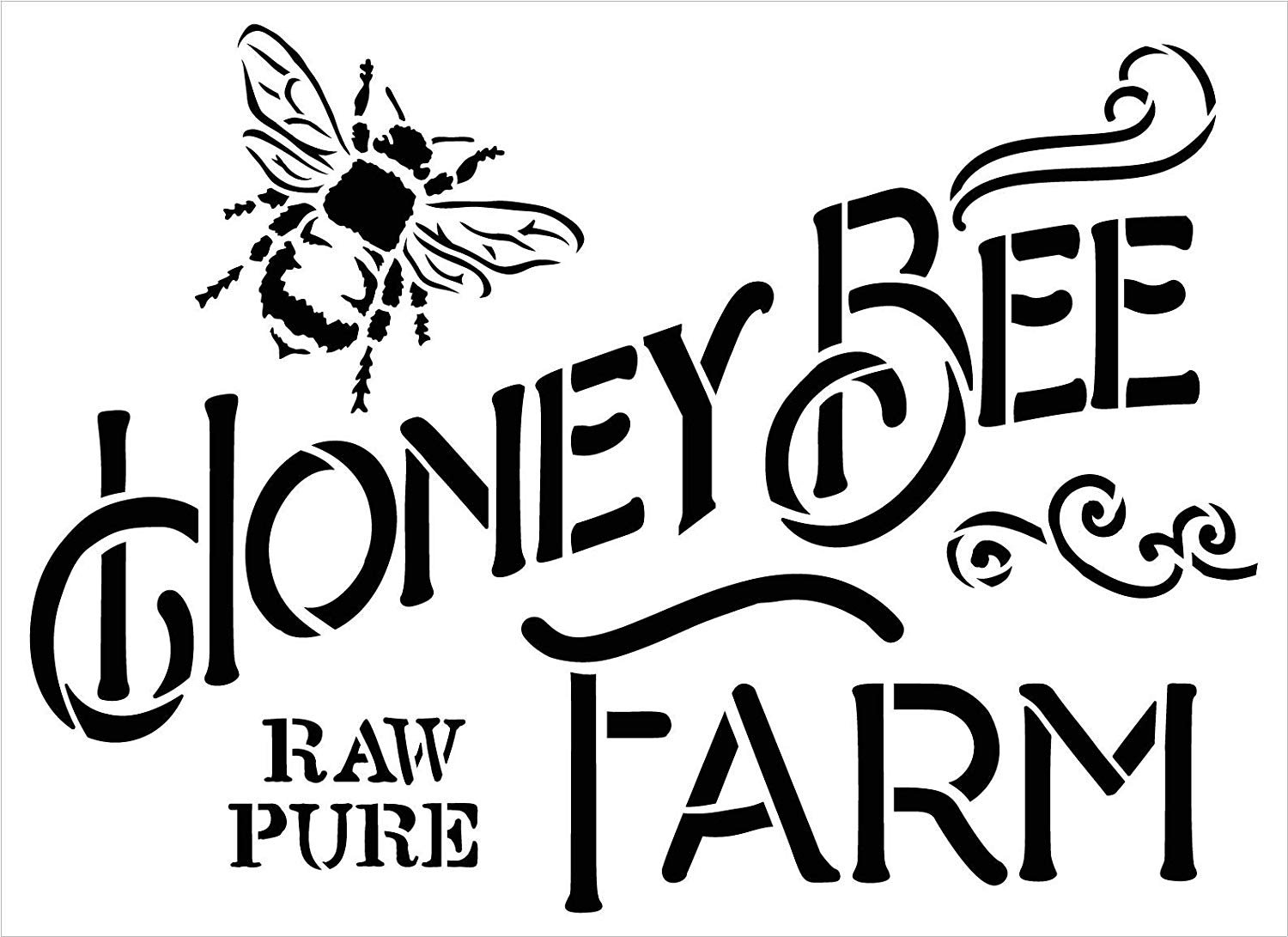 Honey Bee Farm Stencil by StudioR12   DIY Vintage Spring Farmhouse Kitchen Home Decor   Raw & Pure   Craft & Paint Country Rustic Wood Signs   Reusable Mylar Template   Select Size