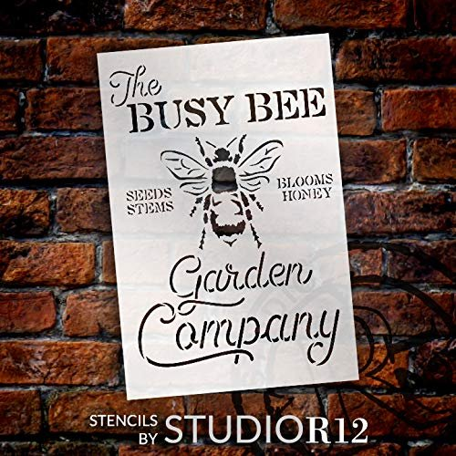 Busy Bee Garden Company Stencil by StudioR12 | DIY Spring Farmhouse Kitchen Home Decor | Seeds, Stems, Blooms, Honey | Craft & Paint Wood Signs | Reusable Mylar Template | Select Size