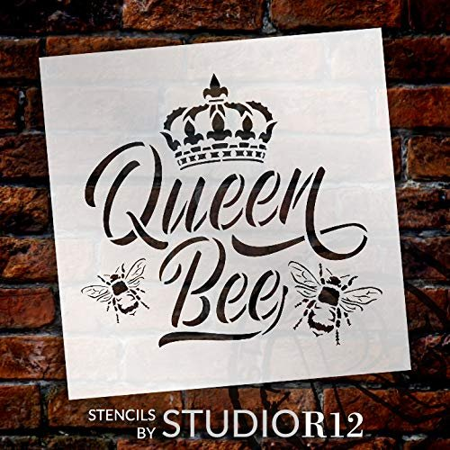 Queen Bee Stencil With Crown By Studior12 Diy Farmhouse Script Home Decor Cursive Rustic Country Word Art Craft Paint Wood Signs Reusable Mylar Template Select Size Creative Arts Lifestyle