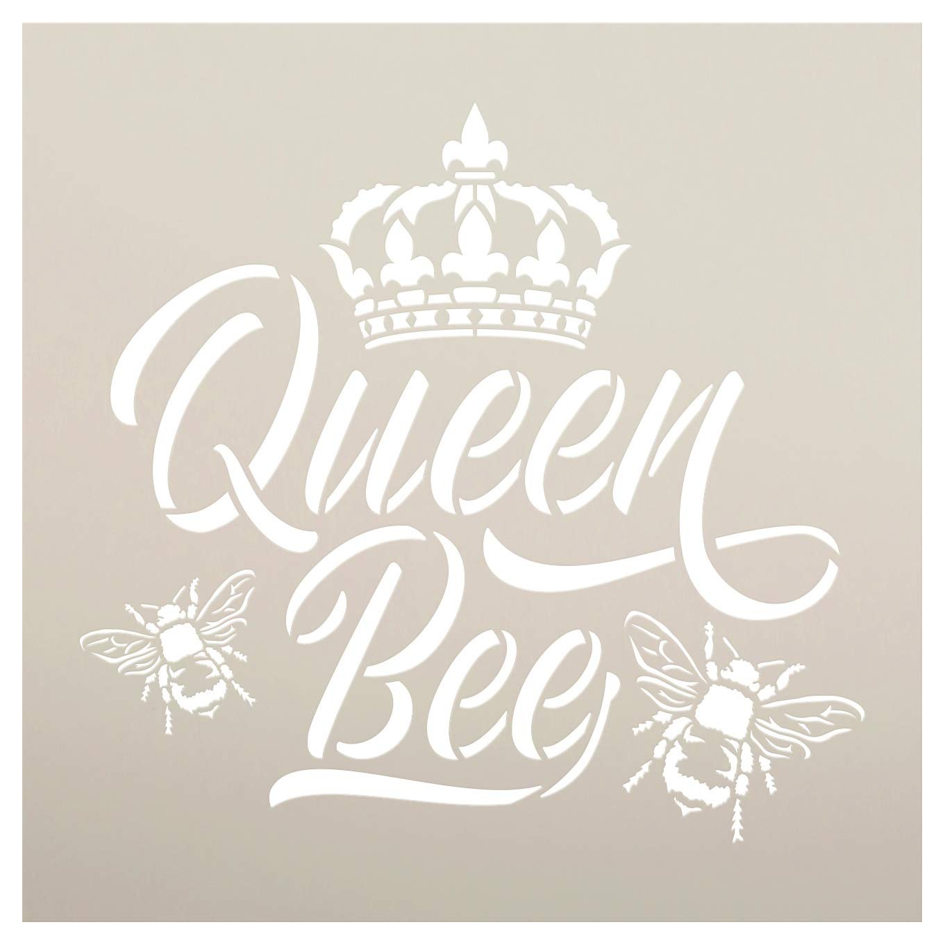 Queen Bee Stencil with Crown by StudioR12 | DIY Farmhouse Script Home Decor | Cursive Rustic Country Word Art | Craft & Paint Wood Signs | Reusable Mylar Template | Select Size