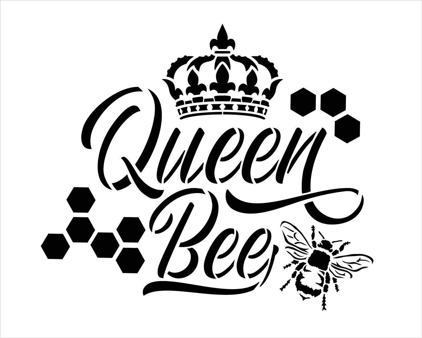 Queen Bee Stencil with Crown & Honeycomb by StudioR12 | DIY Farmhouse Script Home Decor | Cursive Country Word Art | Craft & Paint Wood Signs | Reusable Mylar Template | Select Size