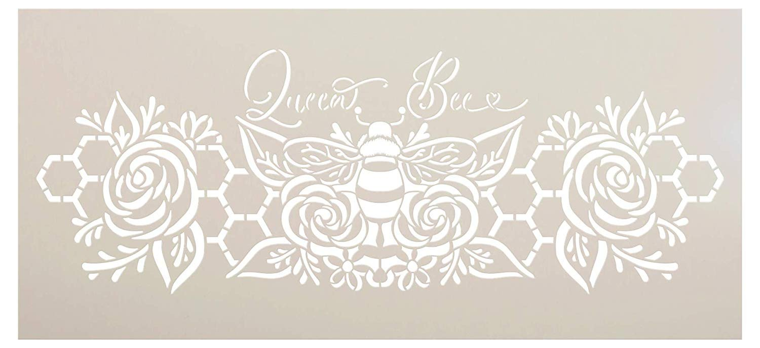 Queen Bee Stencil with Flowers & Honeycomb by StudioR12 | DIY Farmhouse Home Decor | Boho Floral Script Word Art | Craft & Paint Wood Signs | Reusable Mylar Template | Select Size