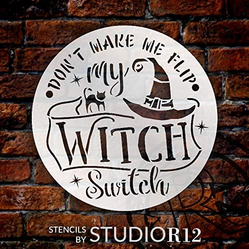 Flip My Witch Switch Stencil with Cat & Hat by StudioR12 | DIY Halloween Home Decor | Craft & Paint | Reusable Template | Select Size