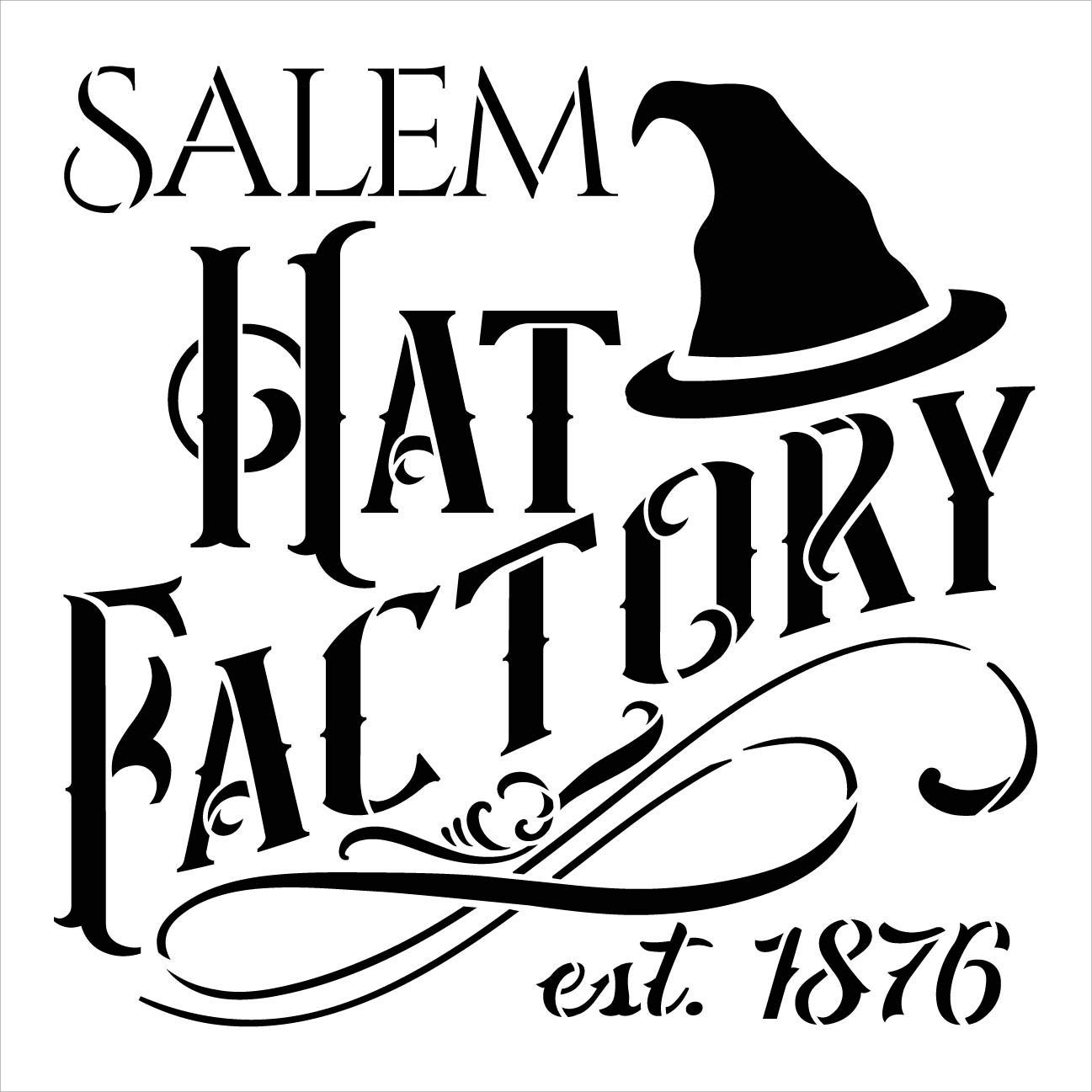Salem Hat Factory Stencil by StudioR12 | DIY Halloween Witch Home Decor | Craft & Paint Wood Signs | Reusable Template | Select Size