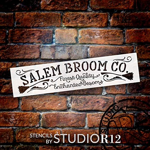 Salem Broom Co. Stencil by StudioR12 | DIY Halloween Witch Home Decor | Craft & Paint Wood Signs | Reusable Template | Select Size