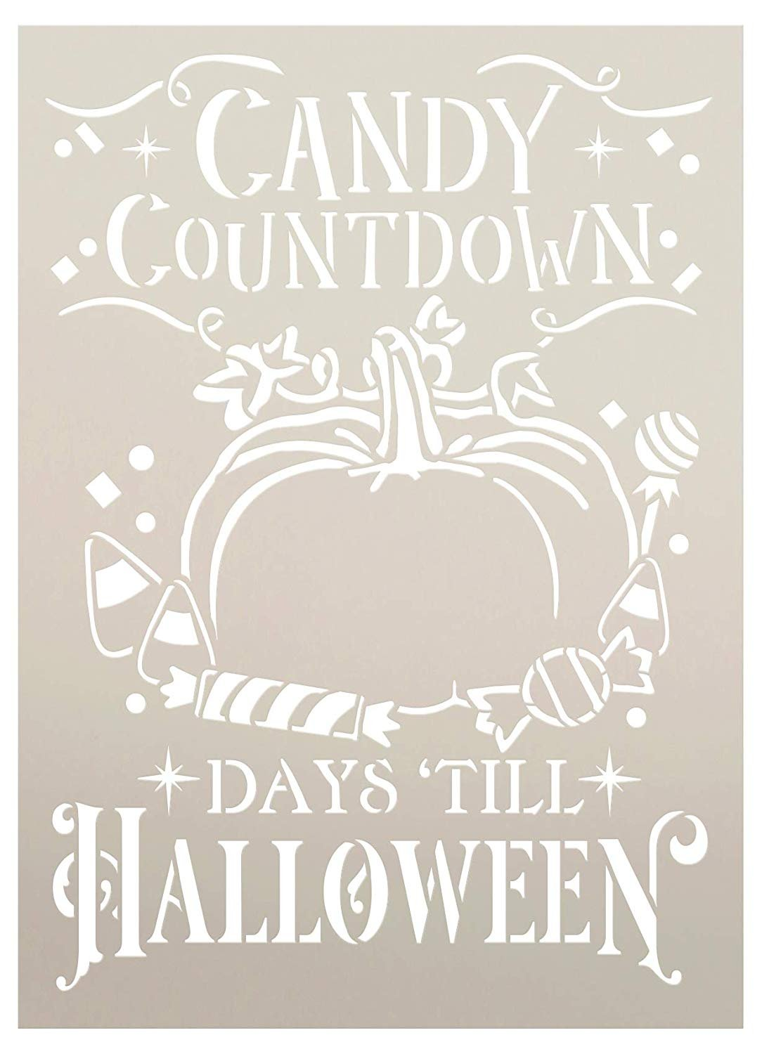 Candy Countdown Stencil with Pumpkin by StudioR12 | DIY Trick or Treat & Halloween Home Decor | Paint Wood Signs | Select Size