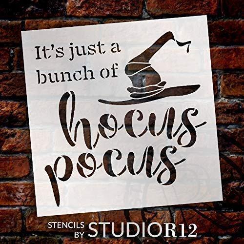 Bunch of Hocus Pocus Stencil with Witch Hat by StudioR12 | DIY Halloween Home Decor | Craft & Paint | Reusable Template | Select Size