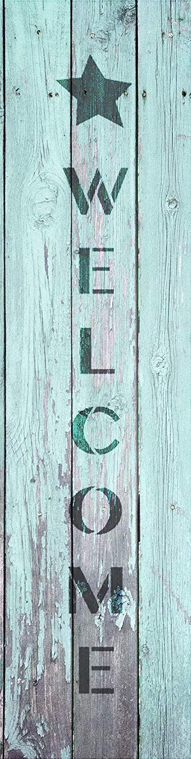Welcome with Star - Vertical Stencil by StudioR12 | Reusable Mylar Template | Use to Paint Wood Signs - Pallets - Walls - DIY Home Decor - Select Size