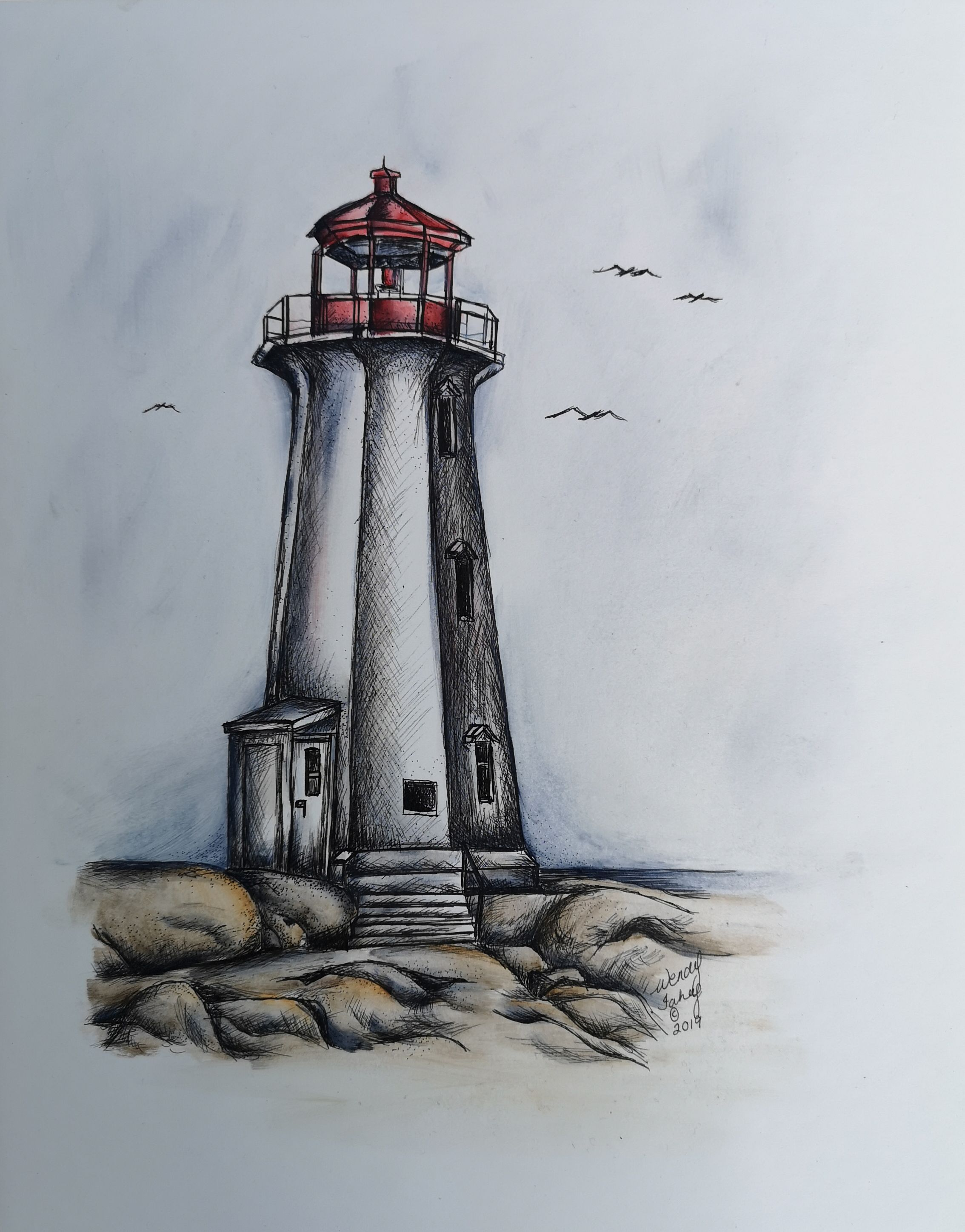 Peggy's Cove - Pen & Ink - E-Packet - Wendy Fahey