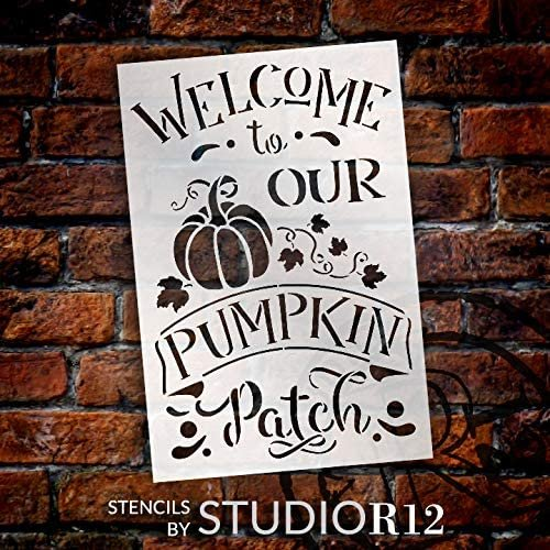Welcome to Our Pumpkin Patch Stencil by StudioR12   DIY Fall & Autumn Home Decor   Paint Wood Signs   Reusable Template   Select Size