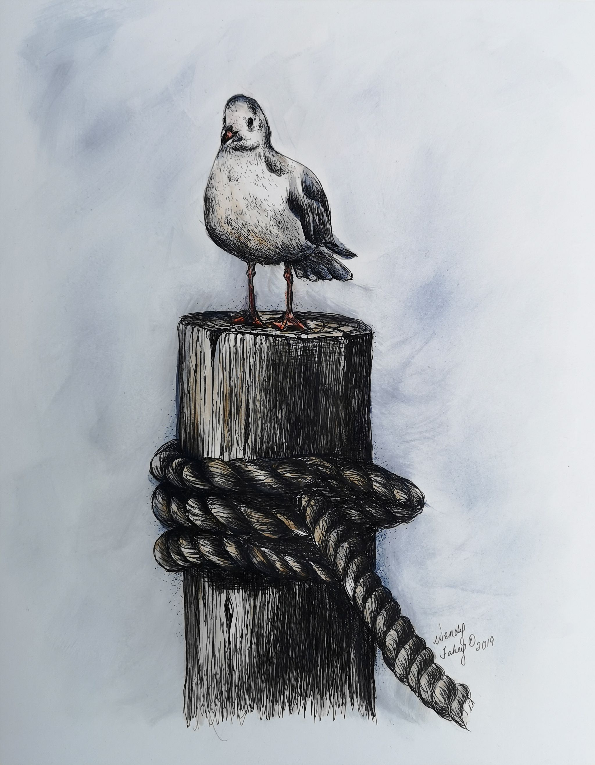 Seagull On Post - Pen & Ink - E-Packet - Wendy Fahey