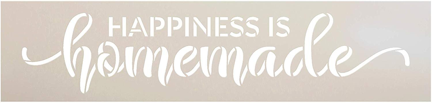Happiness is Homemade Stencil by StudioR12   Reusable Mylar Template   Paint Wood Sign   DIY Rustic Home Decor   Craft Cursive Script Word Art Gift - Family - Friend   Select Size