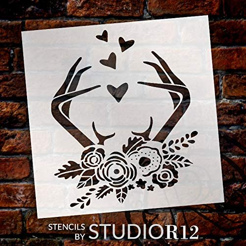 Boho Antlers & Hearts Stencil by StudioR12 | Rustic Flower Deer Hunting Gift | Craft Rose Garden Home Decor | DIY Nature Outdoor Farmhouse | Reusable Mylar Template | Paint Wood Sign