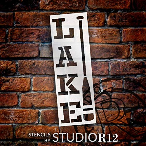 Vertical Lake Stencil with Oar by StudioR12   DIY Country Rustic Home & Cabin Decor   Camping Adventure Word Art   Craft & Paint Wood Sign   Reusable Mylar Template   Select Size