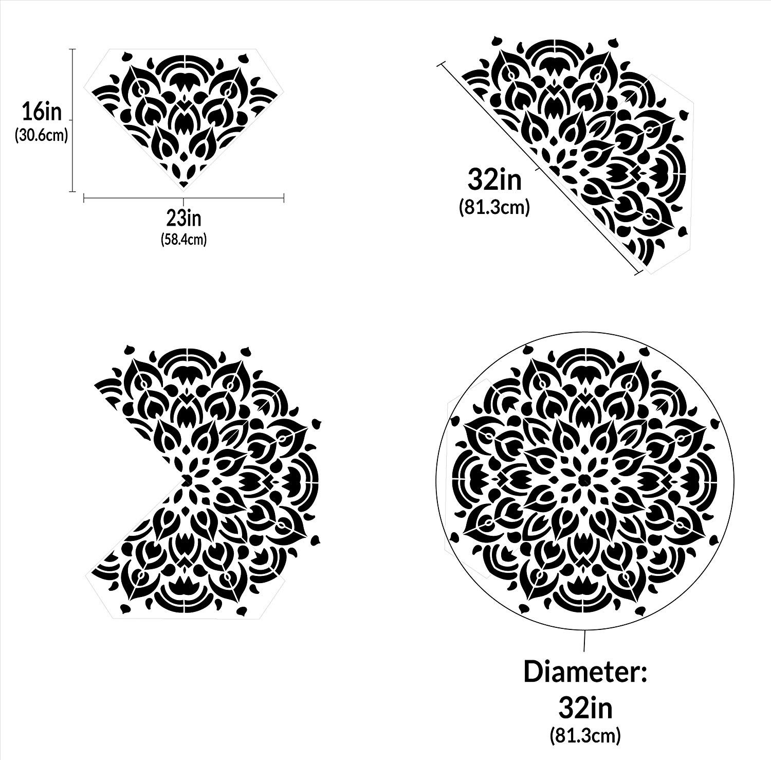 Mandala - Peacock - Quarter Design Stencil by StudioR12 | Reusable Mylar Template | Use to Paint Wood Signs - Pallets - Pillows - Wall Art - Floor Tile