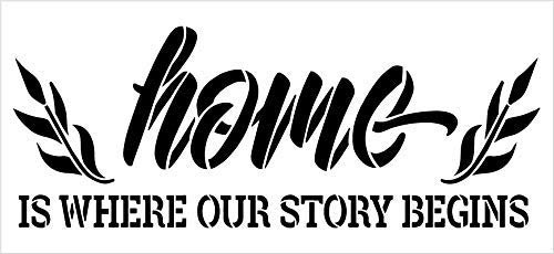 Home - Where Our Story Begins Stencil by StudioR12 | Reusable Mylar Template Paint Wood Sign | DIY Rustic Fall Decor Craft Cursive Script Laurel Gift - Family - Friend | Select Size