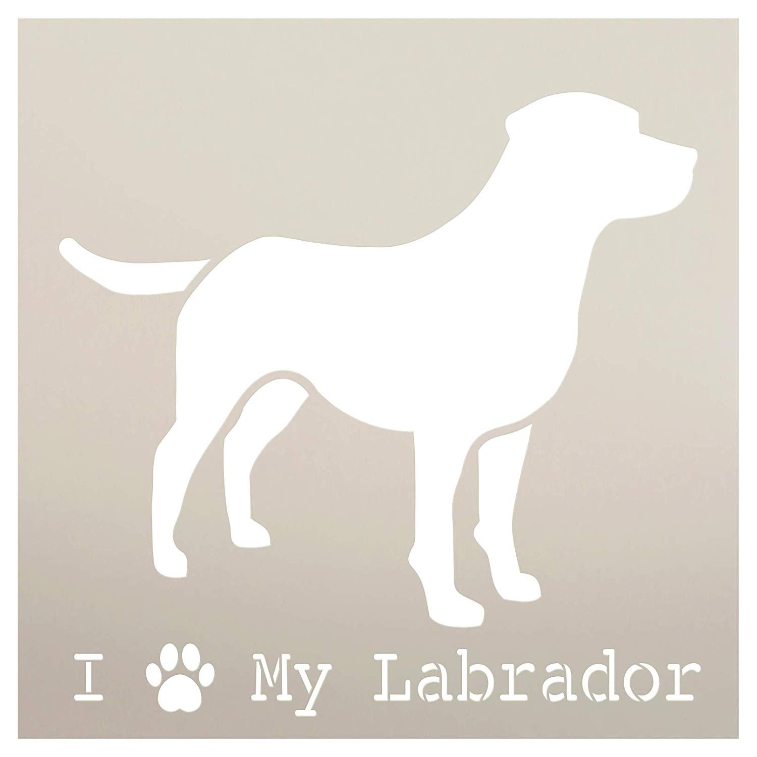 I Heart My Labrador with Paw Print Stencil by StudioR12 | Reusable Mylar Template | Paint Wood Sign | Craft Dog Lover Gift - Family - Friends | DIY Pet Home Decor | Select Size