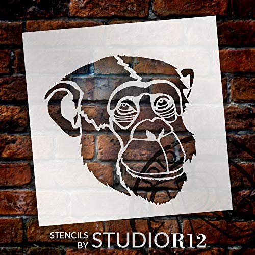 Chimp Portrait Stencil by StudioR12   Zoo Animals   Nature DIY Kids Family Gift   Craft School Home Decor   Activity Nursery Play Room Wall Decor   Reusable Mylar Template Paint Wood Sign