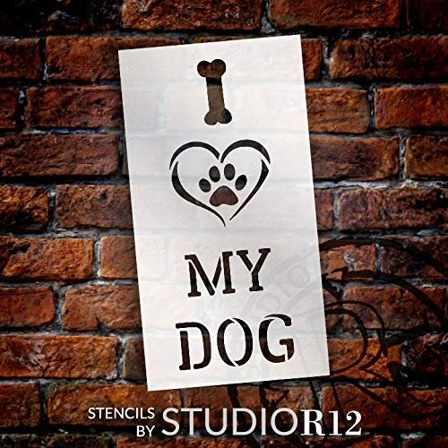 I Heart My Dog - Paw Print - Bone Stencil by StudioR12   Reusable Mylar Template   Paint Tall Wood Sign   Craft Animal Lover Gift - Family - Friends   DIY Pet Home Decor   SELECT SIZE