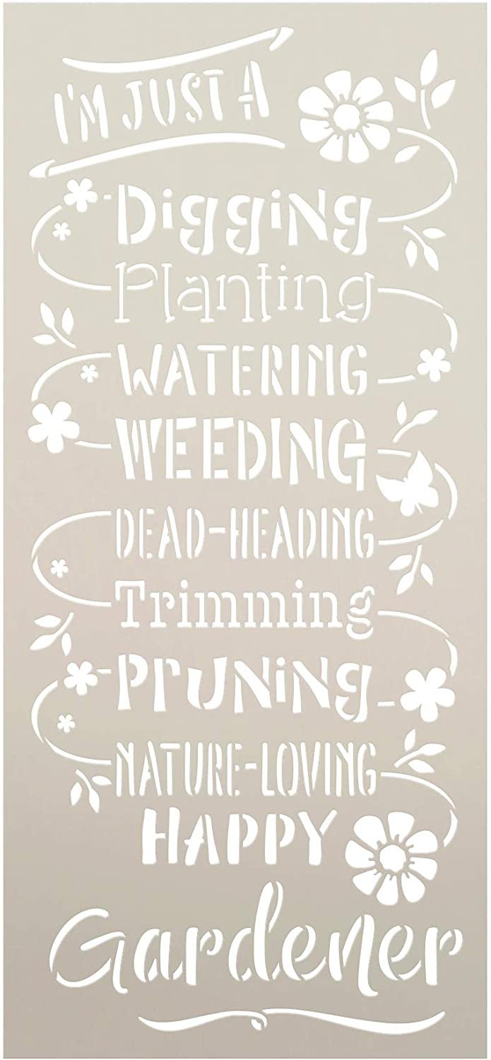 Happy Gardener Stencil by StudioR12 | Reusable Mylar Template Paint Tall Vertical Wood Sign | Craft DIY Home Decor Cursive Script Flower Gift - Outdoor - Porch | Select Size