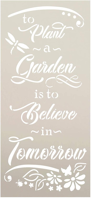 Plant Garden - Believe Tomorrow Stencil by StudioR12   Flower   Reusable Mylar Template Paint Wood Sign   Craft DIY Home Decor Cursive Script Outdoor Porch Gift Select Size