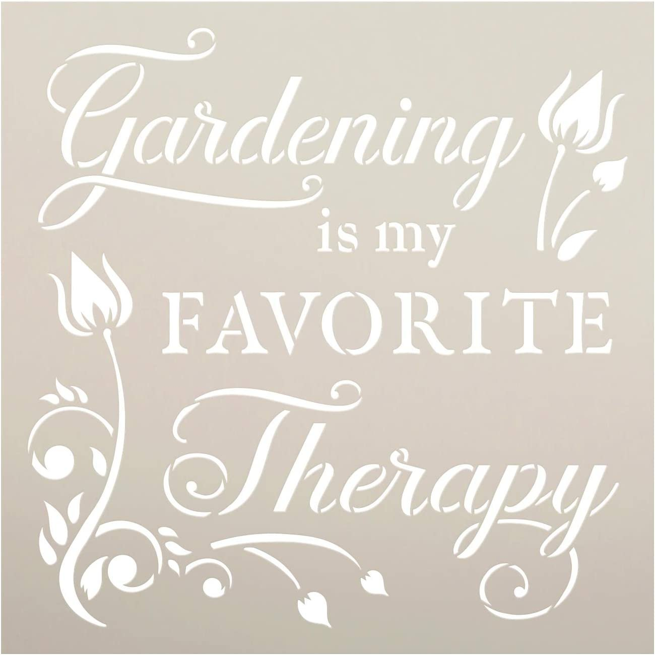 Gardening - Favorite Therapy Stencil by StudioR12 | Reusable Mylar Template | Paint Wood Sign | Craft DIY Flower Home Decor | Cursive Script Nature Gift - Porch | Select Size