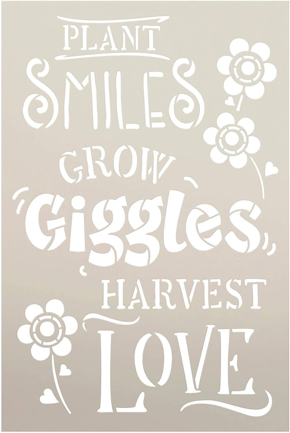 Grow Giggles Stencil by StudioR12   Reusable Mylar Template Paint Wood Sign   Plant - Smile - Love - Harvest - Flower   Craft DIY Home Decor Gift - Outdoor - Porch Select Size