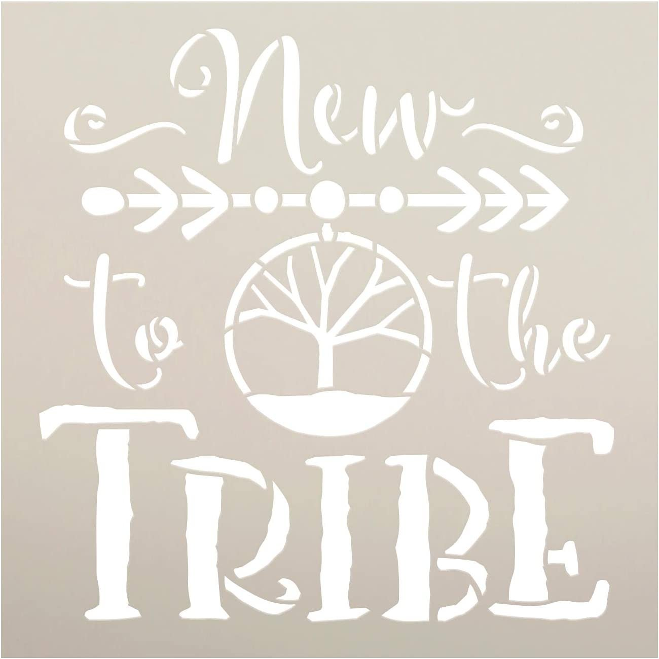 New to The Tribe Stencil by StudioR12   DIY Boho Tribal Family Home Decor   Craft & Paint Wood Sign   Reusable Mylar Template   Bohemian Tree Dream Catcher Gift   Select Size