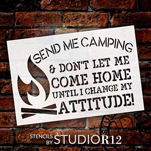 Send Me Camping Stencil by StudioR12 | DIY Adventure Home Bonfire Decor | Craft & Paint Wood Sign | Reusable Mylar Template | Gift - Children - Family | Select Size