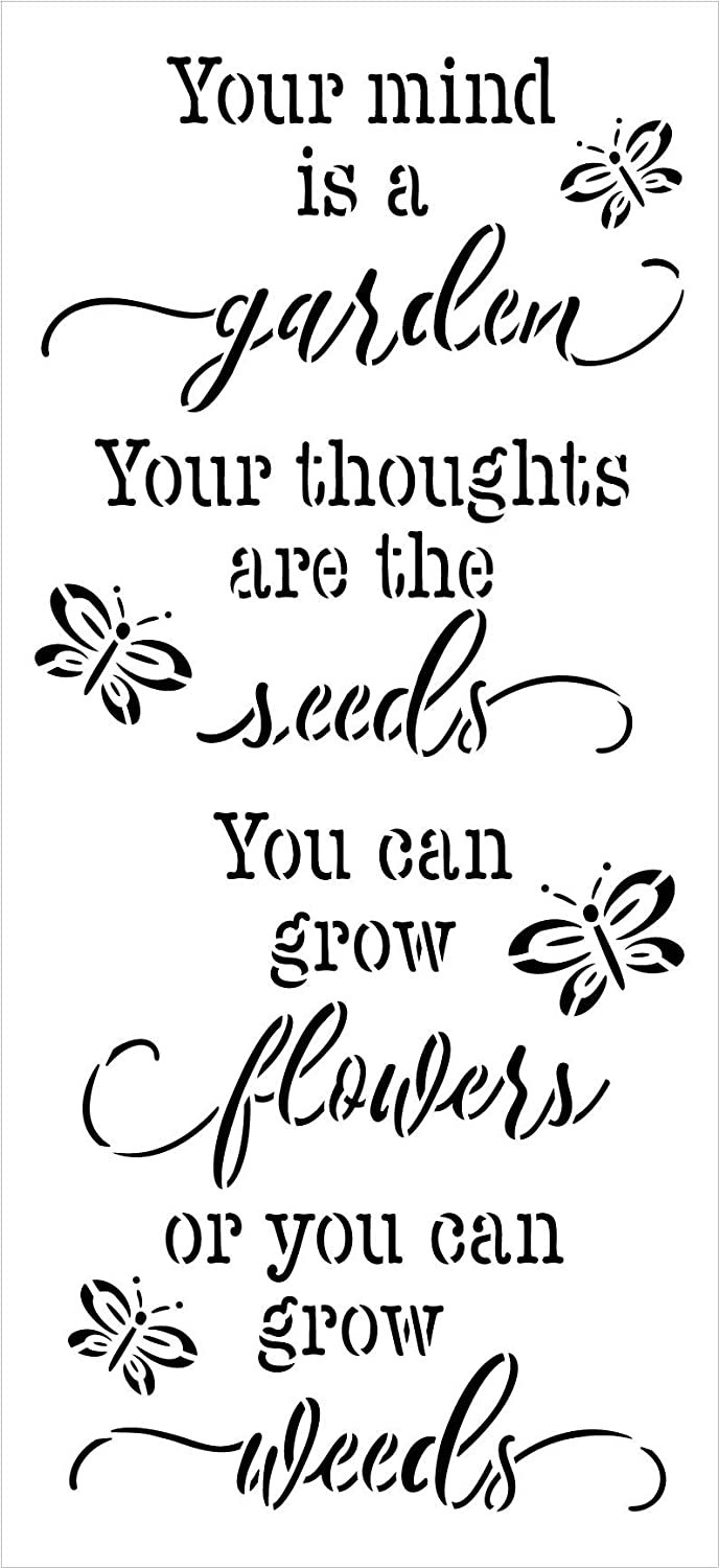 Your Mind is a Garden Stencil by StudioR12 | Reusable Mylar Template Paint Tall Wood Sign | Craft DIY Home Decor | Cursive Script Flower Gift - Outdoor - Porch | Select Size