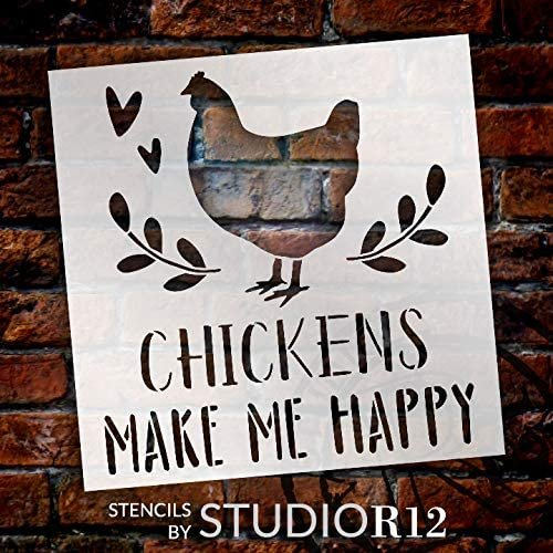 Chickens Make Me Happy Stencil by StudioR12   DIY Rustic Farmhouse Home Decor   Craft & Paint Wood Sign   Reusable Mylar Template   Laurel Heart Gift   Select Size