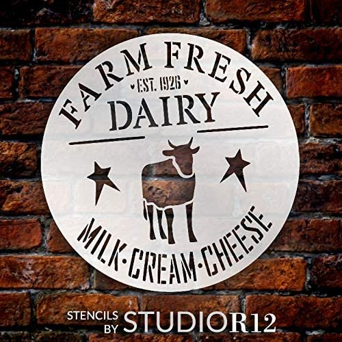 Farm Fresh Dairy Stencil by StudioR12 | DIY Rustic Country Farmhouse Cow Home Decor | Craft & Paint Round Wood Sign | Reusable Mylar Template | Milk Cream Cheese | Select Size