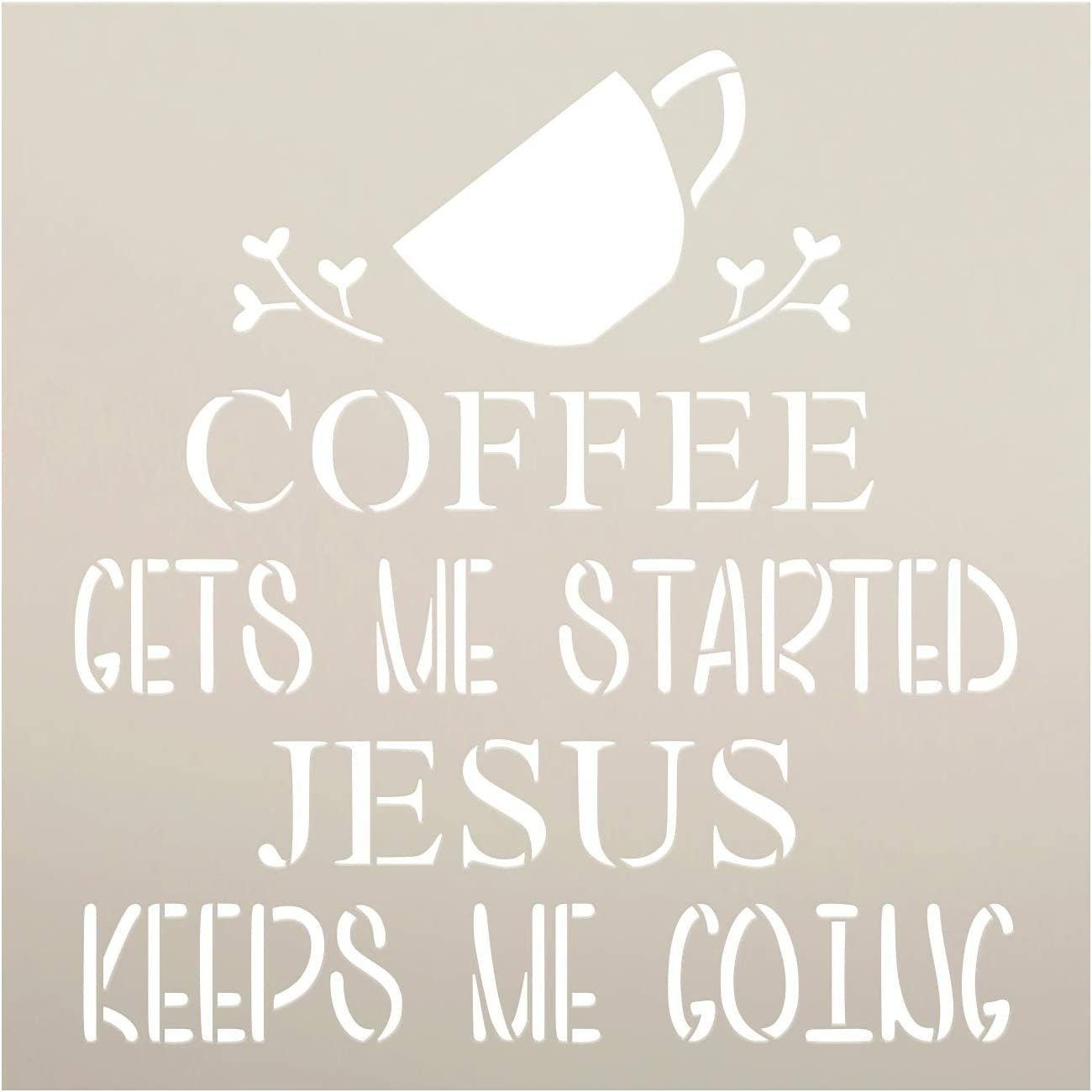 Coffee - Jesus Keeps Me Going Stencil by StudioR12 | DIY Home Decor | Craft & Paint Wood Sign | Reusable Mylar Template | Funny Kitchen Faith Gift | Select Size