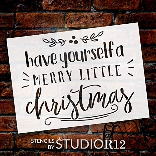 Merry Little Christmas Stencil by StudioR12 | DIY Holiday Mistletoe Home Decor | Craft & Paint Wood Sign | Reusable Mylar Template | Winter Cursive Script Gift Select Size