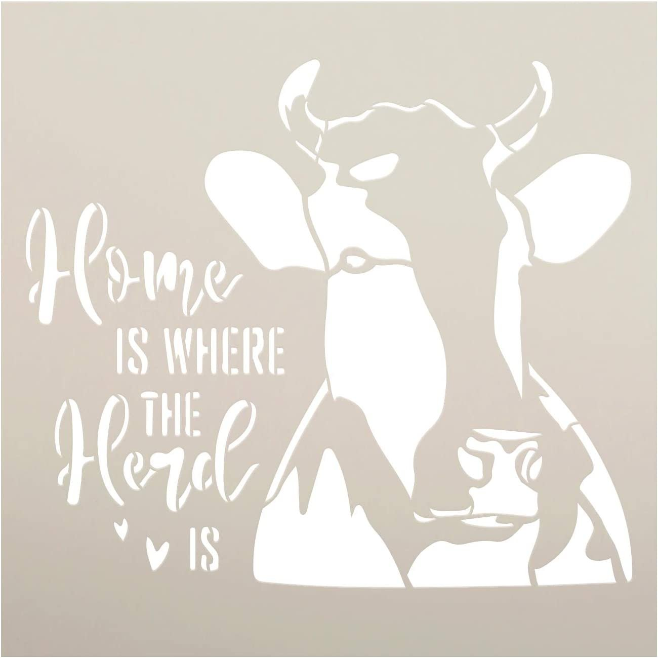 Home - Where The Herd is Stencil by StudioR12 | DIY Cow Farmhouse Home Decor | Craft & Paint Wood Sign | Reusable Mylar Template | Rural Country Gift Kitchen Barn | Select Size