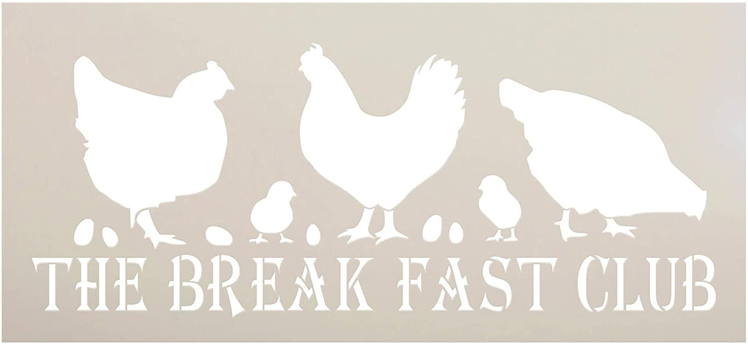 Breakfast Club Chicken Stencil by StudioR12 | DIY Farmhouse Home Decor | Craft & Paint Wood Sign | Reusable Mylar Template | Funny Barn Animal Coop Gift | Select Size