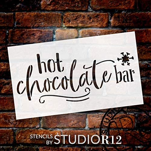Hot Chocolate Bar Stencil by StudioR12 | DIY Christmas Holiday Home Decor | Craft & Paint Wood Sign | Reusable Mylar Template | Winter Cursive Script Snowflake | Select Size