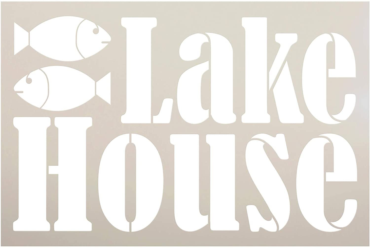 Lake House Stencil by StudioR12   DIY Rustic Fishing Home Decor   Craft & Paint Wood Sign   Reusable Mylar Template   Vacation Nature Adventure Gift - Porch   Select Size