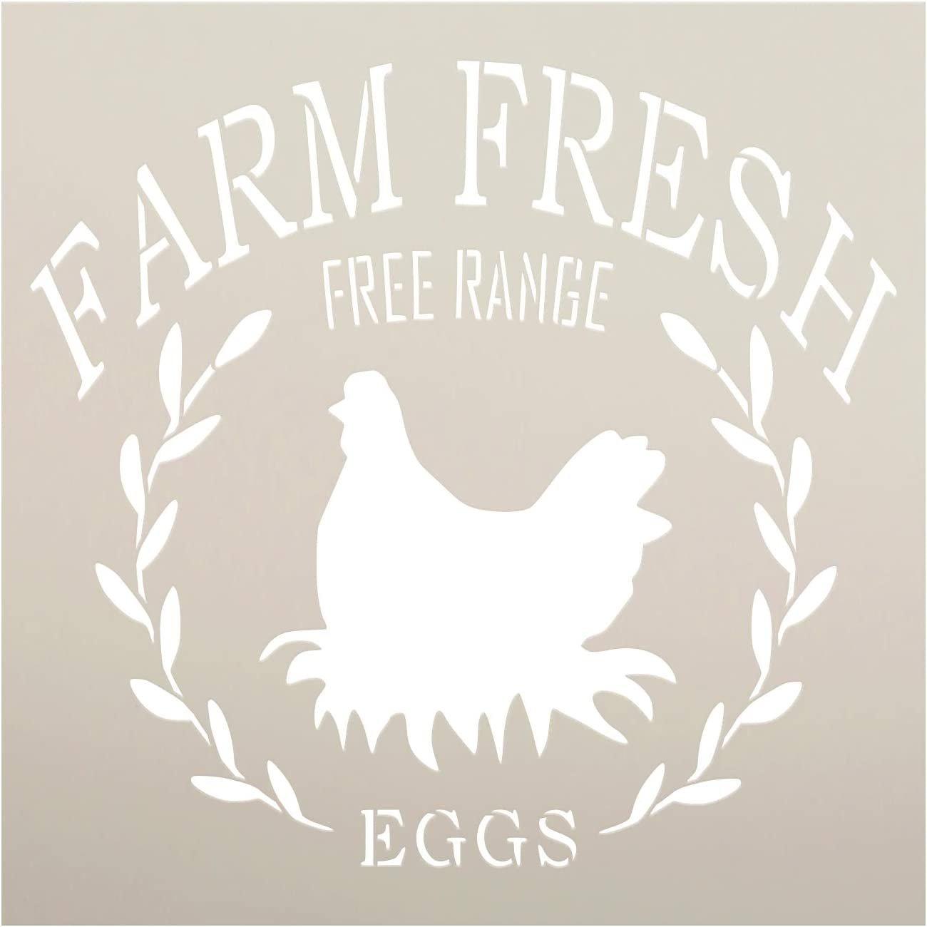 Farm Fresh Free Range Eggs Stencil by StudioR12 | DIY Chicken Laurel Wreath Home Decor | Craft & Paint Wood Sign | Reusable Mylar Template | Rustic Kitchen Barn | Select Size