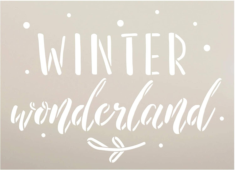 Winter Wonderland Stencil by StudioR12 | DIY Christmas Holiday Mistletoe Home Decor | Craft & Paint Wood Sign | Reusable Mylar Template | Winter Cursive Script Select Size